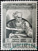 Um selo imprimido no vaticano mostra o profeta joel, pintado na capela sistina, por michelangelo — Fotografia Stock