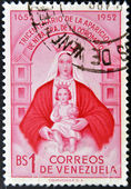 A stamp printed in Venezuela shows Our Lady of Coromoto — Stock Photo
