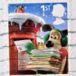 Stock Photo: Stamp printed in Great Britain shows image of Gromit posting Christmas cards