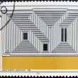 ������, ������: A stamp printed in Germany dedicated to Bauhaus shows Sactuary by Josef Albers
