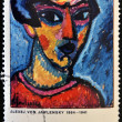 A stamp printed in Germany shows Portrait in Blue, Painting by Alexej von Jawlensky — Stock Photo
