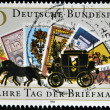 A stamp printed in Germany dedicated to the 50th anniversary of the Day postage stamp shows a Stagecoach — Stock Photo