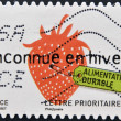 A stamp printed in France dedicated to sustainable ideas, shows strawberry, Unknown winter — Stock Photo