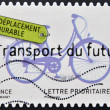 A stamp printed in France dedicated to sustainable ideas, shows bike, Transport of the future — Stock Photo