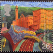 A stamp printed in Great Britain shows  Mill Towns — Stock Photo