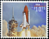 Stamp printed in USA shows launch of Space Shuttle Endeavour — Stock Photo
