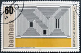 A stamp printed in Germany dedicated to Bauhaus shows Sactuary by Josef Albers — Stock Photo