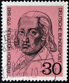A stamp printed in Germany shows Friedrich Holderlin, lyric poet — Stock Photo