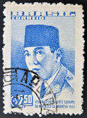 A stamp printed in Brazil dedicated to the visit of Indonesian President Sukarno — Stock Photo
