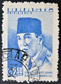 Un francobollo stampato in brasile dedicata alla visita del presidente indonesiano sukarno — Foto Stock