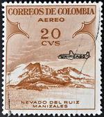 Znaczek wydrukowany w kolumbii pokazuje nevado del ruiz manizales — Zdjęcie stockowe
