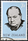 Stamp printed in New Zealand shows Sir Winston Churchill — 图库照片