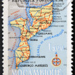A stamp printed in Portugal showing map of Mozambique — Stock Photo