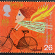 Stock Photo: Stamp printed in Great Britain shows Liberation by bike