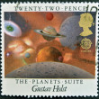 A stamp printed in Great Britain shows image celebrating The Planets Suite by Gustav Holst — Stock Photo