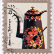 A stamp printed in USA shows image of a Toleware coffeepot — Stock Photo