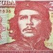 Detail of Che Guevara on a Vintage 3 Pesos banknote from Cuba — Photo