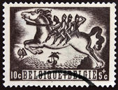 A stamp printed in Belgium shows Bayard, Belgian legend — Stok fotoğraf