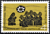 A stamp printed in Australia shows Christmas, Emmanuel, God with us — Stock Photo