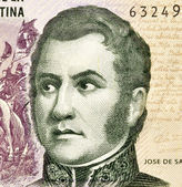 Jose de San Martin on 5 Pesos 2003 Banknote from Argentina. — Stock Photo