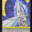 "A stamp printed in Australia shows the America's Cup winning Australian Yacht ""Australia II"" — Stock Photo #13353795"