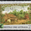 A stamp printed in australia shows early australian christmas card — Stock Photo