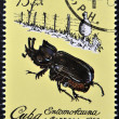Stock Photo: Stamp printed in Cubdedicated to Entomofaun(Insect fauna) shows Black beetle (Homophileurus cubanus)