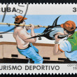 Stockfoto: Stamp printed in Cubdedicated to sports tourism, shows fishing