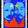 Stamp printed in Cuba devoted to Symposium Against Yankee Genocide in Vietnam and its extension to Laos and Cambodia,shows Jose Marti and Ho Chi Minh — Stock Photo #13353995