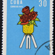 Stamp printed in Cuba devoted to Symposium Against Yankee Genocide in Vietnam and its extension to Laos and Cambodia, shows the Roses — Stock Photo