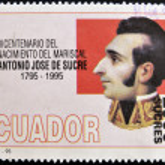 A stamp printed in Ecuador shows Antonio Jose de Sucre — Stock Photo