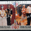 Collection stamps printed in cook island shows two portraits of Queen Elizabeth II for his Silver Jubilee — Stock Photo