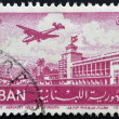 A stamp printed in Lebanon shows a plane taking off Khalde International Airport — Stock Photo