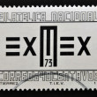A stamp printed in Mexico shows symbol of the American Philatelic Exhib — Photo