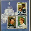 Stock Photo: Collection stamps printed in Niue shows portraits of Prince of Wales on occasion of their wedding on St Paul's Cathedral