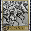 A stamp printed in Spain shows Battle of Tetuan 1860, Painting by Mariano Fortuny — Stock Photo