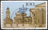 A stamp printed in Germany shows Gendarmenmarkt square in Berlin — Stock Photo