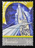 "A stamp printed in Australia shows the America's Cup winning Australian Yacht ""Australia II"" — Foto Stock"