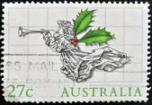 A stamp printed in Australia shows Christmas Angel — Foto Stock