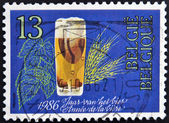 A stamp printed in Beldium dedicated to Year of Beer — Stock Photo