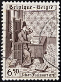 A stamp printed in Belgium shows Jean Froissart — Stock Photo