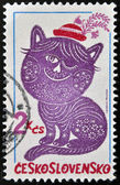 A stamp printed in Czechoslovakia, shown Folktale character embroideries, Dandy and Posy — Stock Photo