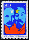 Stamp printed in Cuba devoted to Symposium Against Yankee Genocide in Vietnam and its extension to Laos and Cambodia,shows Jose Marti and Ho Chi Minh — Stock Photo