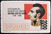 Razítko v ekvádoru ukazuje antonio josé de sucre — Stock fotografie