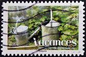 Známka vytištěna ve francii ukazuje napájení ventilátoru — Stock fotografie