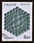 A stamp printed in France showing Victor Vasarely a work of geometric abstract art — Stock Photo