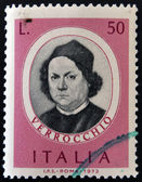 A stamp printed in Italy shows Andrea del Verocchio — Stock Photo