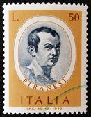 一枚邮票印在意大利,显示了一束花环菊花 — ストック写真