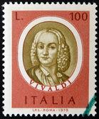 Stamp printed in Italy, dedicated to Famous musicians shows Antonio Lucio Vivaldi — Stockfoto