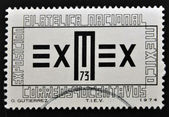 A stamp printed in Mexico shows symbol of the American Philatelic Exhib — 图库照片